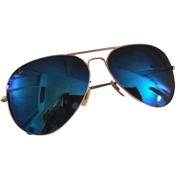Ray-Ban Accessories | Rayban Aviator Sunglasses Blue Lens Gold Frame ...