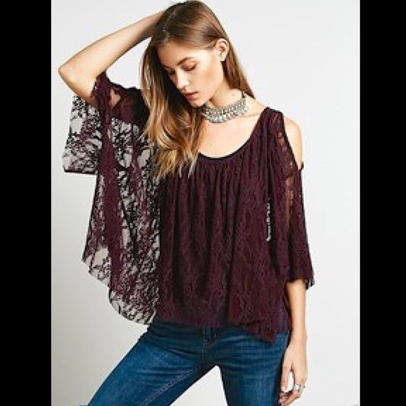01176c19a6f Free People Tops - Free People purple lace Lost Austin Swing Top XS