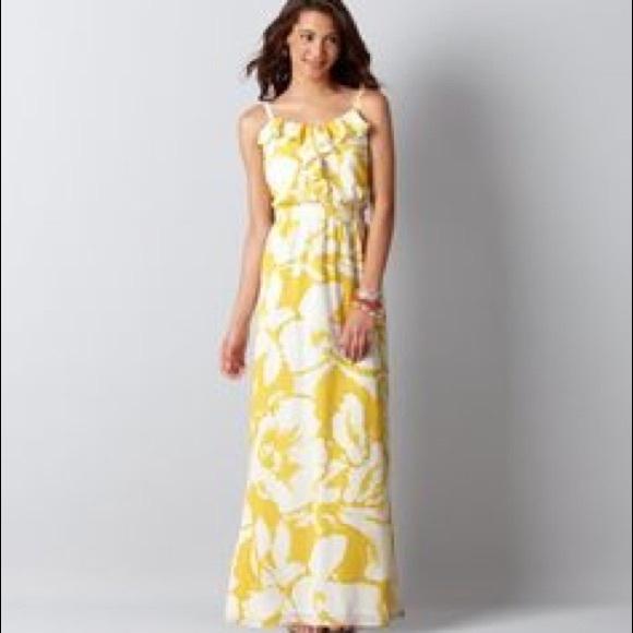 ef54c362851d LOFT Dresses   Skirts - Loft hibiscus yellow flower maxi dress