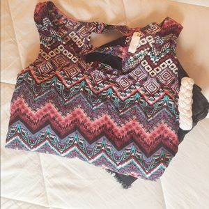 Garage Tops - Colorful Aztec Print Flowy Crop Top by Garage