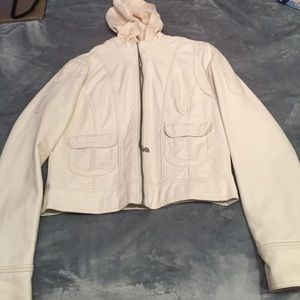Cream colored faux leather jacket with hood