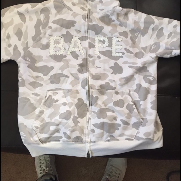 9f76b4b687d3 Bape Jackets   Blazers - Bape White Camo Parka with Swarovski Zip Up Hoodie