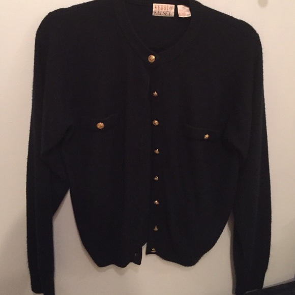 91% off Vintage Sweaters - Black cardigan with gold buttons ...