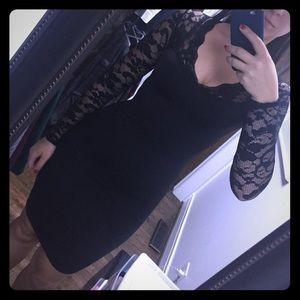Above knee black lace dress