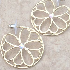 Jewelry - Gold Tone iridescent Crystal Flower Hoop Earrings