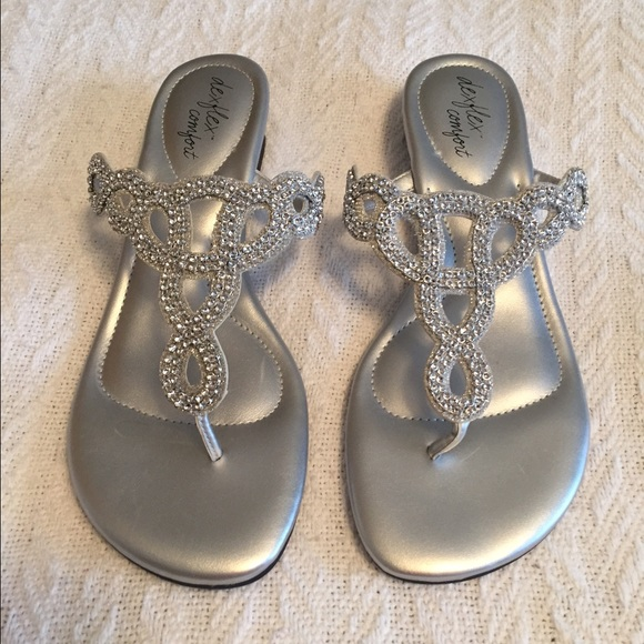 64% off Shoes - NWT Metallic low wedge sandals, wedding, bridal ...