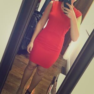 Red H&M above knee dress with zipper down the back
