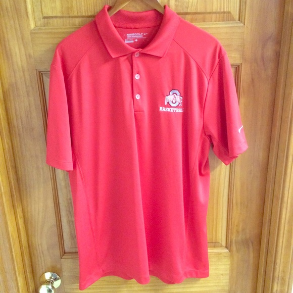 Nike shirts mens golf drifit ohio state polo shirt for Ohio state golf shirt