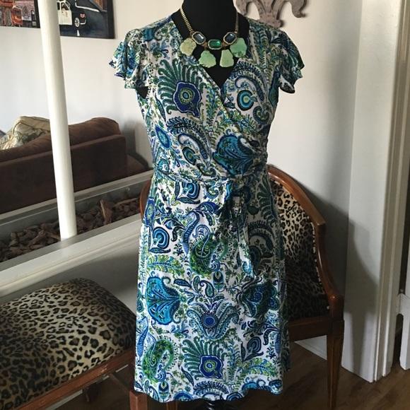 cf938a1edab2 Elie Tahari Dresses & Skirts - Classic Tahari Wrap Dress Peacock Feather  Print