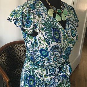 ca56af0c7c5b Elie Tahari Dresses - Classic Tahari Wrap Dress Peacock Feather Print