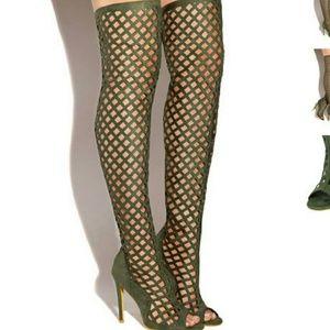 Thigh High Green Boots - Boot Hto