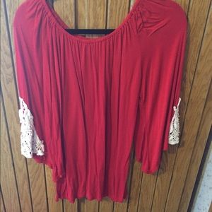 Red Flowy Boutique Blouse