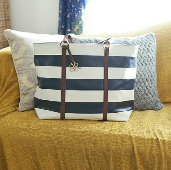 Banana Republic Handbags - Banana Republic Tote Bag Navy Blue Stripes