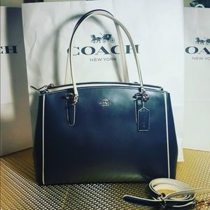 COACH Handbag Navy Blue -beige