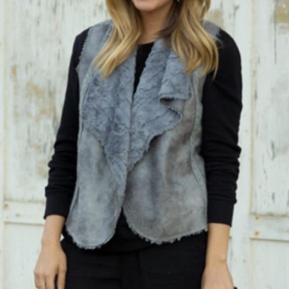 Ella Moss Jackets & Blazers - Ella Moss Gray Nico Faux Fur Vest
