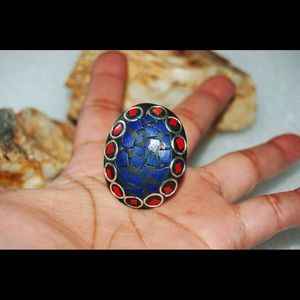 Mex Nepal Blue & Red Coral Statement Ring Size 9