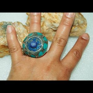 Huge Statement Turquoise & Blue Coral Ring 5 1/2