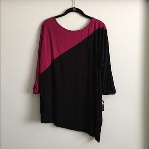 INC fuchsia/black color block top