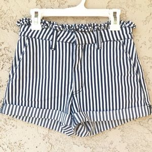 Forever 21 Pants - Striped High Waisted Ruffle Shorts