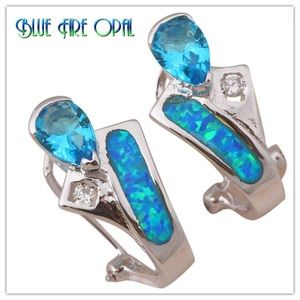 Jewelry - 🐳925 Silver Blue Fire Opal & Topaz Earrings🐳
