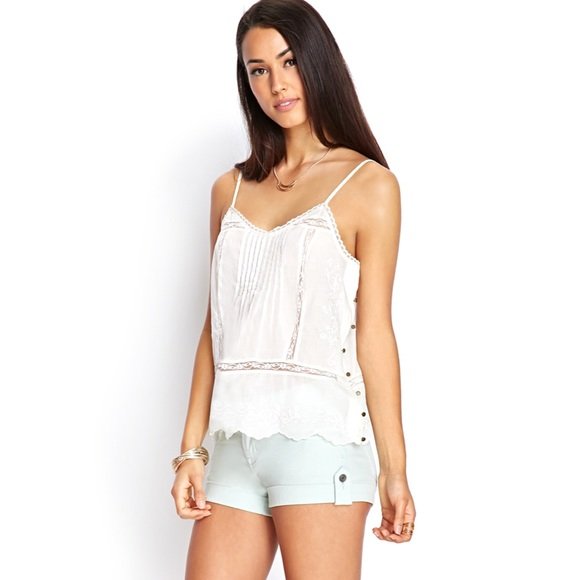 98bcec67ac6a3 Forever 21 Woven Top Cami Cream F21