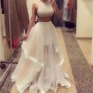 champagne Jovani prom dress