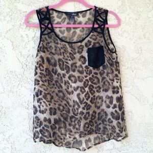 Oboe Tops - NWT Leopard Tank Top Cut Out