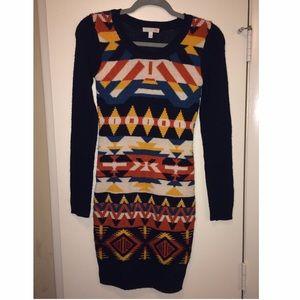 Gianni Bini Navy & Printed Sweater Dress Size XS