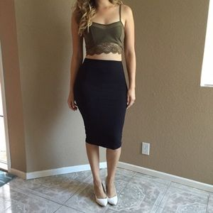 Tops - Lace & Mesh Olive Crop Top
