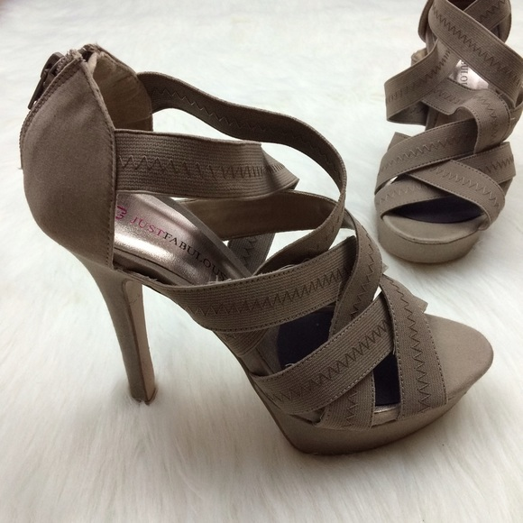 efbe9607da31 JustFab Shoes - Just Fab Criss Cross Elastic Strappy Sandals Heels
