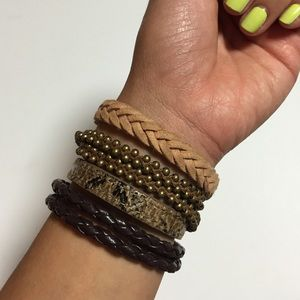 Set of 4 Faux Leather Bracelets