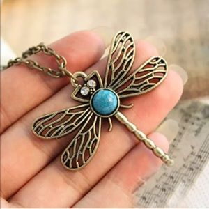 Dragonfly long statement necklace with turquoise