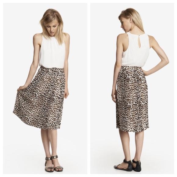 Express Dresses   Skirts - Express leopard print midi skirt 54a8303e73b