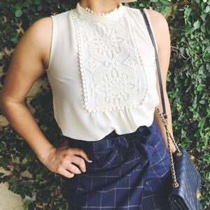 Lace bib top