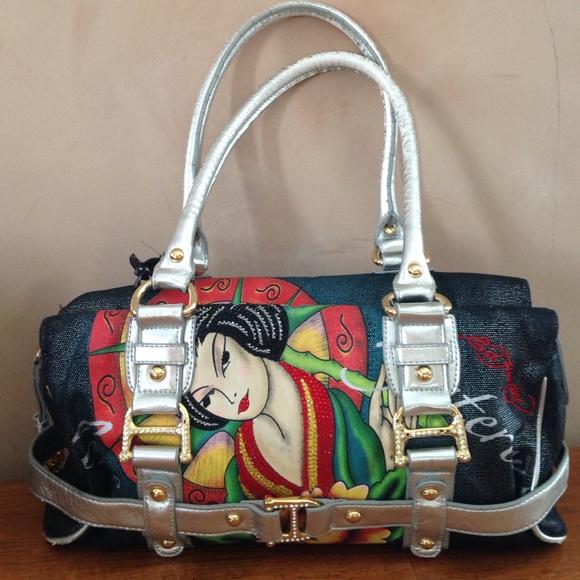 Ed Hardy Handbags - Geisha girl rhinestone Ed Hardy satchel purse 37665d5ea1444