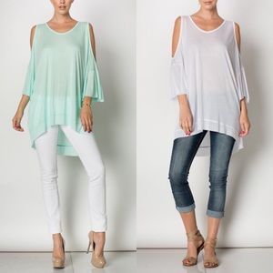 Tops - ⭐️SALE⭐️Cold Shoulder Top in WHITE or MINT