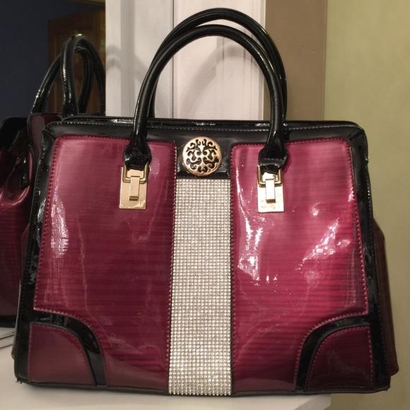 9fcb14383529 Julia & Michael Handbags - Julia & Michael Burgundy w/ Black Trim Bag  &Stones