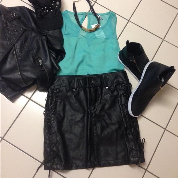 43c7f2836e71 Faux Black Leather Skirt- Lace up Sides- SM OR LG. NWT. Pink Soup  Dollhouse. M_56f030b0a88e7d6a5f002992. M_56f030b34e8d1715550027f6