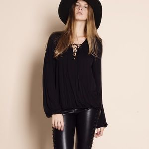 """Again and Again"" Lace Up Long Sleeve Top"