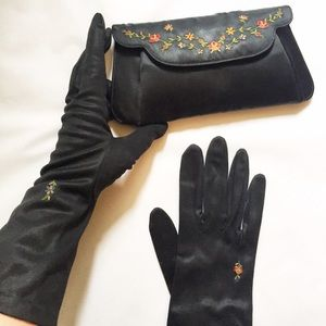 Handbags - Vintage Set of French Embroidered Gloves & Clutch