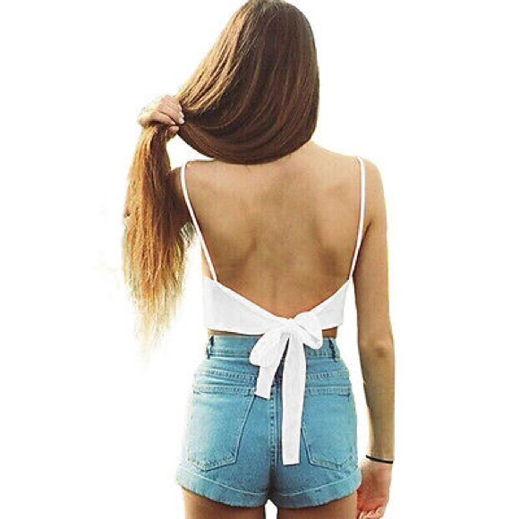 tied back top brandy melville tops 2 for 25 sale white tie back top 6235