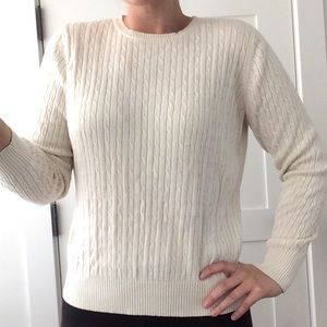 KIM ROGERS // Cable Knit Sweater - White