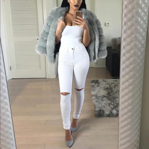 29% off Denim - White Slit Knee Jeans from Glam's closet on Poshmark