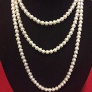 """ICING Jewelry - NEW UNUSED 60"""" glass beaded pearl white necklace"""