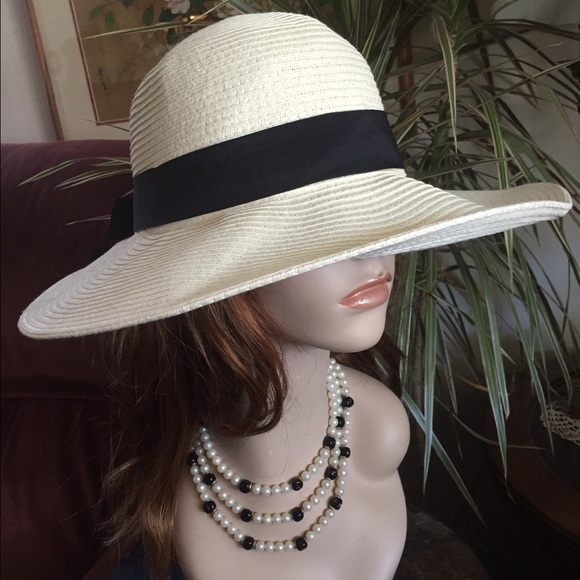 VTG White Wide Brimmed Hat w Black Ribbon ~ DERBY.  M 56f05207eaf0304c98002ef6 5ac726a6457