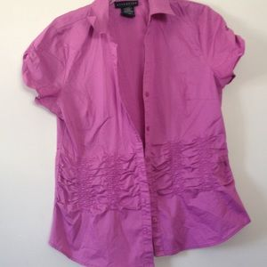 Tops - Magenta Ruffle Button Down (Size M)