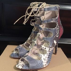 Zara Shoes - Zara lace up multicolor leather snakeskin heels