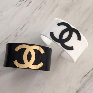 Chanel logo designer black white cuff bracelet