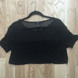 Black Half Mesh Crop Top