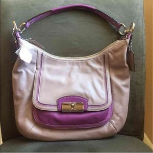 Coach Taupe and Purple Purse